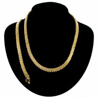Gold Tone Slant Chain Link Bracelet Collar Necklace Jewelry Set Vintage