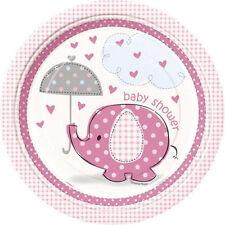 "Umbrella Elephant Pink Girl Baby Shower 8 9"" Dinner Lunch Plates"