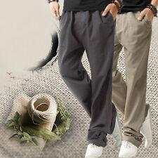 Mens Drawstring Linen Trousers Pants Sports Casual Straight Leg Baggy Sweatpants