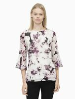 Calvin Klein Top Printed Flare Sleeve Blouse Multicolor Women Sz L NEW NWT