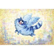 Postcard Blue angel Unposted Art Blue Cats Kitty Kitten Puss Rina Zenyuk
