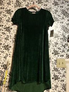 NWT XXS Carly Dress Lularoe elegant green Ribbed velvet rare