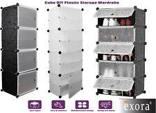 5,8,Cube Plastic Storage Wardrobe Clothes Organizer Cupboard Shoe Cabinet Diy Uk