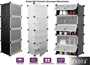 5,8,Cube Plastic Storage Wardrobe Clothes Organizer Cupboard Shoe Cabinet DIY UK