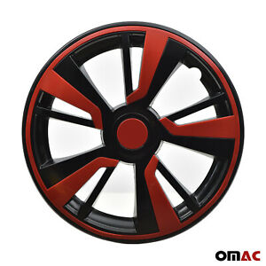 16'' Hubcaps Wheel Rim Cover Black with Red Insert 4pcs Set For Nissan
