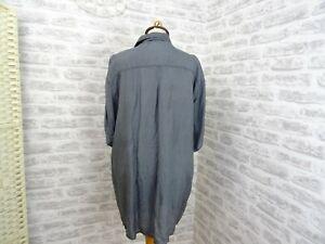 vintage  mans or unisex silk shirt  grey NEW FAST C&A   size XL  T321