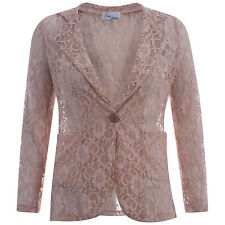 Womens All Lace Buttoned Blazer Ladies Full Sleeve Lace Button Jacket Blazer New
