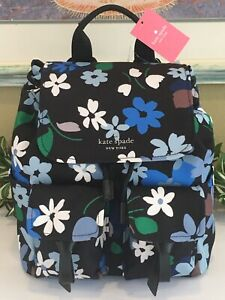 KATE SPADE CARLEY FLAP BACKPACK TOTE BAG POCKETS CANVAS BLUE BLOOMS LEATHER