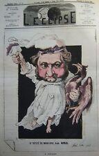 LE DEPUTE ROUHER CARICATURE de GILL JOURNAL SATIRIQUE L'ECLIPSE N° 174 de 1872