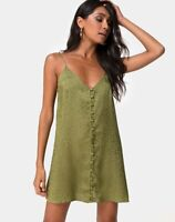 MOTEL ROCKS Akina Dress in Satin Cheetah Khaki S Small (mr30)