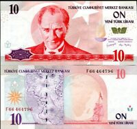 TURKEY 10 NEW LIRA 2005 P 218 PREFIX F UNC