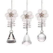 3PCS Crystal Suncatcher White Plastic Flower Ornament Hanging Pendant for Home