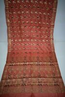 Vintage Golden Pure Tussar Silk Saree Traditional Embroidered Sari Wedding Wear