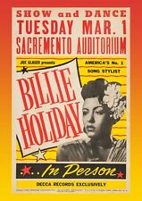 More details for billie holiday concert poster wall art sacramento unframed picture jazz music