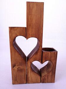 Set of 3 Handmade Heart Shaped Wooden Tea Light Holders Rustic Walnut