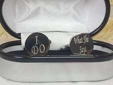 Personalised Round Wedding Cufflinks Groom Best Man Gift Box Boxed Cuff Link V2