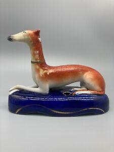 Victorian Staffordshire Greyhound Inkwell, c1860-80, restored