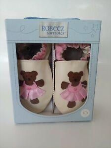 Robeez Soft Soles Shoes Girls 3-4 Years Ballerina Bear Cream New In Box