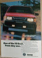 1989 SAAB advertisement page, Saab 9000 Turbo, SAAB-Scania, red car