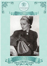 Vintage sewing pattern-how to make a wartime 1940s unusual trimmed hat & bag
