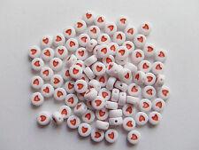 50pz  perline piatto rotondo cuore colore bianche rosso 7x3.5mm
