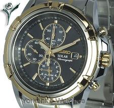 Seiko solaire chrono alarme cadran noir boîtier en acier inoxydable et bracelet SSC142P1