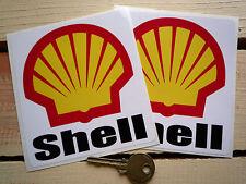 "SHELL Text & Modern Logo Race Car STICKERS 4"" Pair F1 Rally Grand Prix Formula 1"
