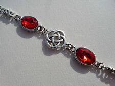 BRACELET DARK SILVER PLATED ROUND CELTIC KNOTS FACETED RED GLASS CRYSTAL OVAL