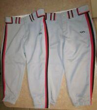 "2 Pair BOOMBAH Red Black Grey Baseball Pants Size Waist  29"" & 30"" Medium Large"