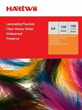 Hartwii 100 Sheets A4 Glossy Clear  Laminating Pouches Film 150 Micron (75 x 2)