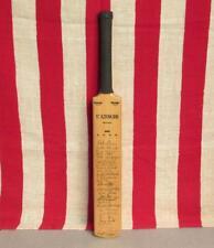 """Vintage Slazenger Wood miniature Cricket Bat Award Trophy Team Signed 17"""" Nice!"""
