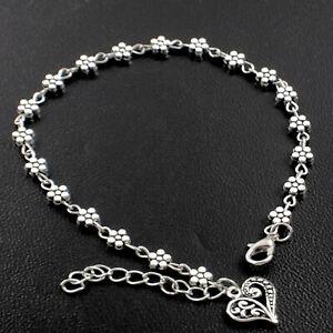 Pretty Antique 925 Silver Pltd Daisy Heart Charm Anklet Ankle Chain Bracelet
