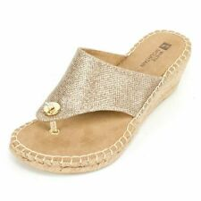 White Mountain Gold Atop Wedge Thong Sandals Flip Flop Jute-Wrapped Espa 6,5 NEW