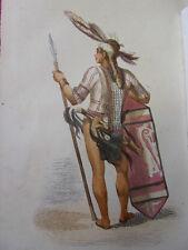 COSTUME BORNEO / Guerrier de Bornéo 1847 rehaussée de couleurs