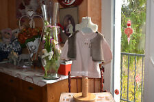 robe baby dior 3 mois toute doublee 20% laine wold rose initiales+gilet neuf oba