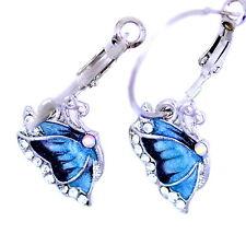 Pretty Tono Argento BLU farfalla di cristallo orecchini a cerchio