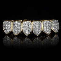 18K Gold w/ Silver Plated High Quality CZ Bottom Row GRILLZ Mouth Teeth Grills