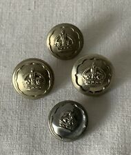 4 Vintage Army Uniform Buttons with Crown Motif MXB4