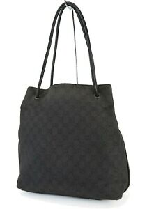 Authentic GUCCI Black GG Canvas and Leather Shoulder Tote Bag #41049