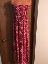 Womens Maxi Dress, Strapless, Red/pink/wine, Print, L 12-14