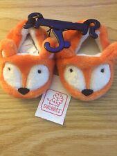 Brand New Swiggles Infant Boy Fox Soft Slippers Size 3 Non-Slip Bottoms