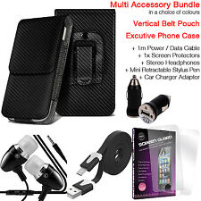 Quality Vertical Belt Pouch Phone Protection Case✔Accessory Pack✔Carbon Black