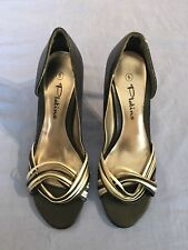 Women Black /multi-colour Mid Heel Sandals By Platino Size 5