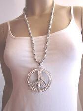Kette lang Bettelkette Halskette XL Großer Strass Peace Anhänger Silber Bling