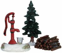 Lemax Christmas Accessory Figurines Water Pump Tree & Firewood Set of 3 #34953