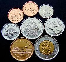2011 CANADA 8-coin Set - 1¢(mag),1¢(non-mag,15¢,10¢,25¢,50¢,1$,2$ - All UNC