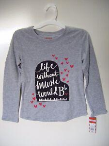 Cat & Jack Girls' Grey Music Long Sleeve T-Shirt, Medium 7/8