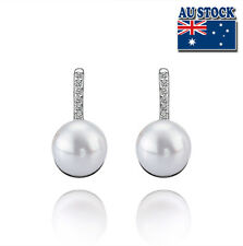 925 Sterling Silver Filled Stud  Earrings with  Sea Shell Pearl and Crystal