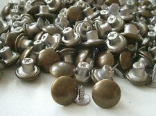 20 Stück Nieten Knöpfe aus Metall - Ø 14 mm - Altmessing