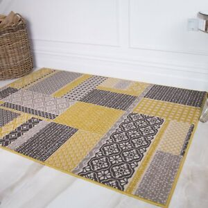 Ochre Yellow Contemporary Patchwork Area Rugs Small Large Rug For Dining Room
